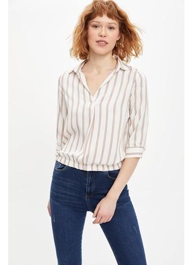 DeFacto Çizgili Uzun Kollu Bluz Bej